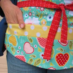 Teacher Apron with Pockets-New Item, Pretty Floral Utility Apron w/ Apples & Polka Dots in Yellow, Dusty Turquoise and Red -- IPhone Apron via Etsy