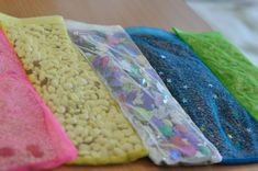 Sensory bags with velcro fastening. You can fill it with anything - rice, beans, coffee grains etc