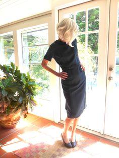 Vintage Key Casuals Atlanta 1950's navy wiggle dress elegant sophisticated metal zipper retro wedding attire: medium, large by…