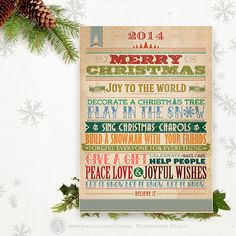 Printable Christmas Card 5x7 Vintage Instant Download by AmeliyCom, $7.00  Christmas Card Instant Download, Printable Retro 2014 XMAS Cards 5x7, Vintage Holidays Happy New Year card. Digital Instant download DIY for home printing