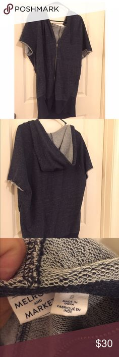 Short Sleeve Zip Up Sweatshirt Dress Like New. Sooo soft! Can be worn as Top or Dress melrose and market Tops