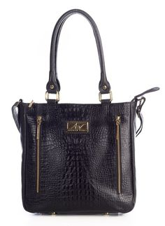 Bolsa com zíper em couro Andrea Vinci preta - Enluaze - Bolsas, mochilas, roupas e acessórios