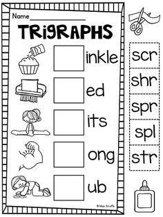 3 Letter Blends Trigraphs Worksheets & Activities {NO PREP!}