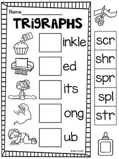 Kids look at the picture to finish the 3 letter blends words for a lot of fun trigraphs reading practice
