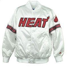 NBA-Starter-Miami-Heat-White-Red-Satin-Jacket-Snap-Up-Mens-Adult-Sports-Winter