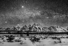 Stars Grand Tetons | Photographer: Tanner Wendell Stewart. Prints available. #photography #landscape #b&w