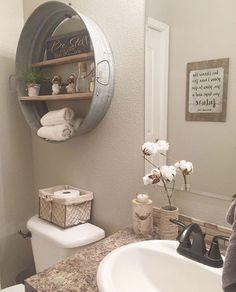 Awesome 36 Inspiring Small Farmhouse Bathroom Design Ideas