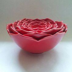 Eight Nesting Lotus Ceramic Bowls in Red by whitneysmith on Etsy, $350.00 - would totally get this if it wasn't for the price tag...