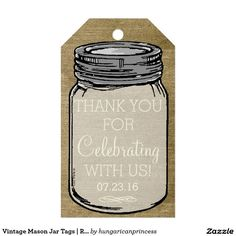 Vintage Mason Jar Tags | Rustic Country Wedding Pack Of Gift Tags