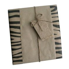 Gift wrapping paper with kraft paper and handmade burlap tags