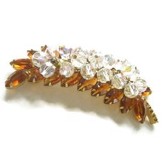 Vintage Verified D&E JULIANA Amber Rhinestones by MyVintageJewels