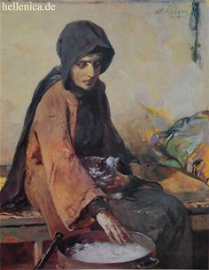 Nikiforos Lytras, Greek painter - Nun at a brazier. Classical Period, Classical Art, Greece Painting, Wolves And Women, Name Paintings, Hellenistic Period, Famous Portraits, 10 Picture, Greek Art