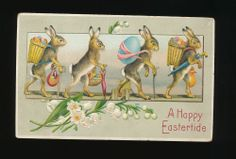 Art Nouveau Rabbits with Eggs & Baskets Antique Emb. Easter Postcard-kkk414