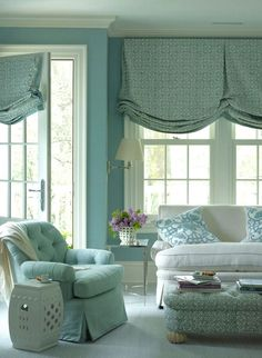 Relaxed roman shades---House of Turquoise: Ashley Whittaker Design House Of Turquoise, Turquoise Walls, Greenwich House, Relaxed Roman Shade, Custom Roman Shades, Bedroom With Sitting Area, Custom Window Treatments, Design Blog, Design Ideas