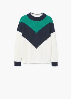 Contrasting knit sweater | MANGO