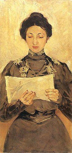 Retrato de leitora de jornal, c. 1900 Stanislaw Debicki (Polônia, 1866-1924) Lwowska Galeria Obrazów , Varsóvia