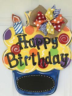 Fabulous Birthday Door Hanger on Etsy! Fabulous Birthday Door Hanger on Etsy! Birthday Door, Happy Birthday Signs, Birthday Wreaths, Teacher Door Hangers, Teacher Doors, Wooden Door Signs, Wooden Doors, Burlap Door Hangers, Birthday Chalkboard