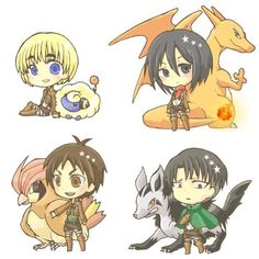 Eren Jaeger, Armin Arlert, Rivaille (Levi) and Mikasa Ackerman - I can totally see Armin with a Mareep!!