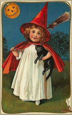Halloween witch white gown orange cape and hat with pumpkin moon