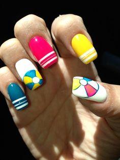 summer themed nail art