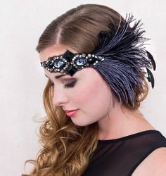 Midnight Jazz Flapper Feather Headband Smokey Blue And Black