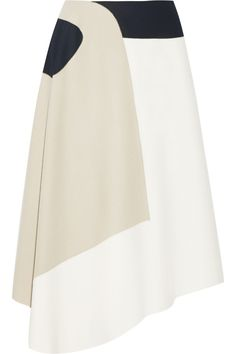 Tibi Siku Color-block Wool-blend Midi Skirt In White Designer Clothes Sale, Discount Designer Clothes, Dress Skirt, Midi Skirt, Dress Shoes, Moda Chic, Thick Sweaters, Fall Skirts, Couture
