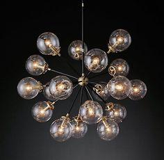 Bistro Globe Burst Chandelier Brass and Bronze   RH Modern