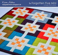 The Forgotten Five Mini Quilt - Can also be used to make a pillow and/or pincushion