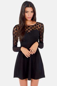 Black Polka Dot Mesh Dress