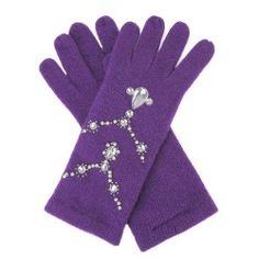 Purple gloves with jewel trim