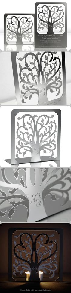 ROOTS :: Metal wedding invitation that can be transformed into a sculpture or candleholder. This modern, family tree wedding invitation is eco-friendly because guests can keep it. AND it doubles as a favor! $9.25 at http://www.invite-design.com/#!product/prd12/2202330705/roots-invitation