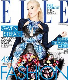 Gwen Stefani for Elle UK October 2012 in Peter Pilotto and McQ