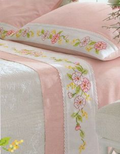 Bildergebnis für machine embroidery designs for bed sheets Cross Stitching, Cross Stitch Embroidery, Hand Embroidery, Cross Stitch Designs, Cross Stitch Patterns, Bed Sheet Curtains, Bed Cover Design, Baby Sheets, Baby Pillows