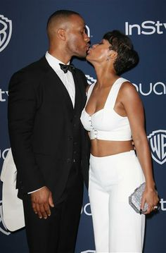 Meagan Good and DeVon Franklin showed their love on the red carpet at the Golden Globe Awards Warner Bros