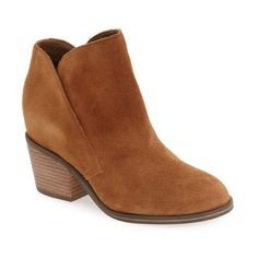 Women's Jessica Simpson 'Tandra' Bootie ($100) ❤ liked on Polyvore featuring shoes, boots, ankle booties, canela brown suede, brown cowboy boots, ankle cowboy boots, brown suede boots, cowboy boots and brown cowgirl boots
