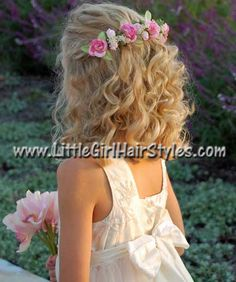 Wedding Hairstyles For Kids Flower Girls Daughters 42 Ideas - Flower Girl Hairstyles - Flower Girl Hairstyles, Fancy Hairstyles, Little Girl Hairstyles, Wedding Hairstyles, Girl Haircuts, Simple Bridal Hairstyle, Easy Hairstyle, Medium Hair Styles, Curly Hair Styles