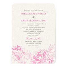 Wedding Invitation | Fuchsia Floral Peony Design