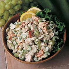 Chicken Salad....wonderful!    I have substituted the following:  Chicken breasts - 2 cans of chicken  Green Grapes - red or purple grapes  Bacon - Bacon Bits  Miracle Whip - Mayonaisse    Serve on lettuce or in a pita pocket.