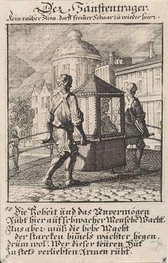 Dragers van een draagstoel, Caspar Luyken, anoniem, 1711