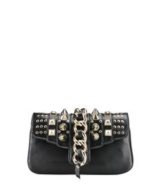 Giuseppe Zanotti Leather clutch with studs | Lindelepalais.com 14634