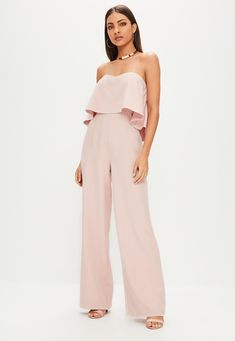 MISSGUIDED | Mono de pierna ancha con palabra de honor en nude