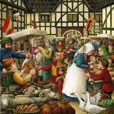 Medieval Market, Painting, Art, Art Background, Painting Art, Kunst, Paintings, Performing Arts, Painted Canvas