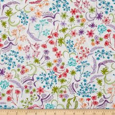 Robert Kaufman In the Bloom Flowers & Stems Garden from @fabricdotcom  Designed by Valori Wells for Robert Kaufman, this cotton print fabric is perfect for quilting, apparel and home decor accents. Colors include red, orange, grey, white, shades of blue, shades of purple, shades of green, and shades of pink.