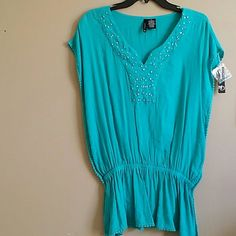 Blouse Beautiful teal with ornate embellishments new directions Tops Tunics