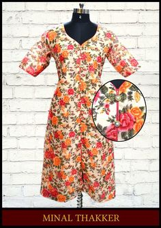 Minal Thakker's floral raw silk tunic with front slit.