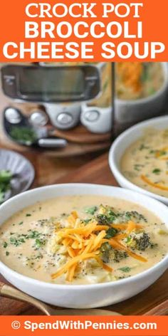 This easy Crock Pot Broccoli Cheese Soup lets the slow cooker do all of the work. Tender broccoli and loads of cheese in a reach creamy soup. Slow Cooker Broccoli, Slow Cooker Soup, Slow Cooker Recipes, Crockpot Recipes, Soup Recipes, Cooking Recipes, Recipies, Potato Cheddar Soup, Broccoli Cheese Soup