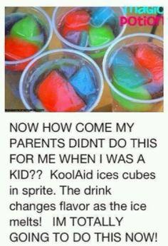 Kids drinks w/ kool-aid ice cubes & sprite