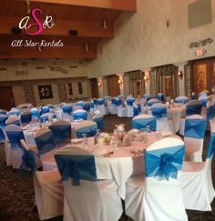 Going for a softer wedding reception?  Here we have a traditional chair cover paired with our ocean blue organza ties! #simplewedding #lovechaircovers