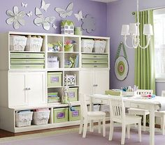 I love the Cameron Creativity Lower Storage Wall with Cabinets, Simply White on potterybarnkids.com