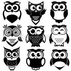 Conjunto de giro corujas preto e branco — Ilustração de Stock #83715536